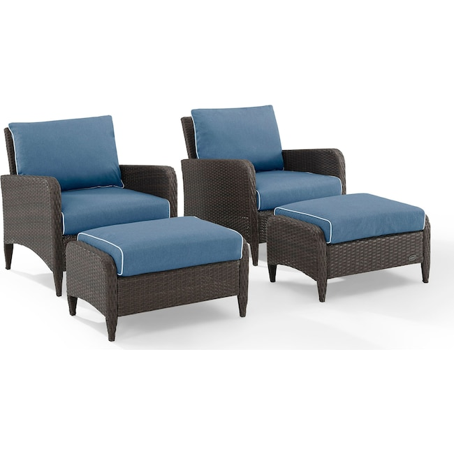 Outdoor Furniture - Corona Set of 2 Outdoor Chairs and Ottomans