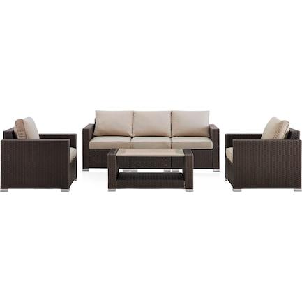 Coronado Outdoor Sofa, 2 Armchairs, and Coffee Table Set - Brown
