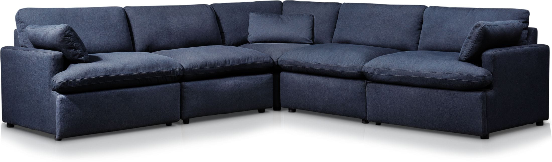 Living Room Furniture - Cozy 5-Piece Power Reclining Sectional with 1 Reclining Seat