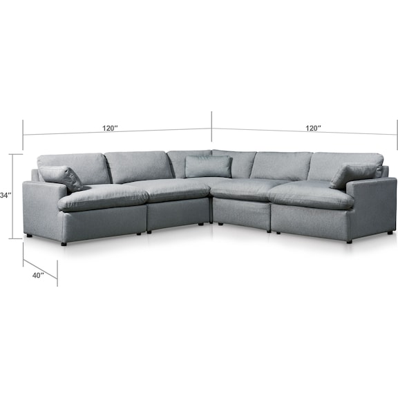 Living Room Furniture - Cozy 5-Piece Power Reclining Sectional with 2 Reclining Seats and Ottoman