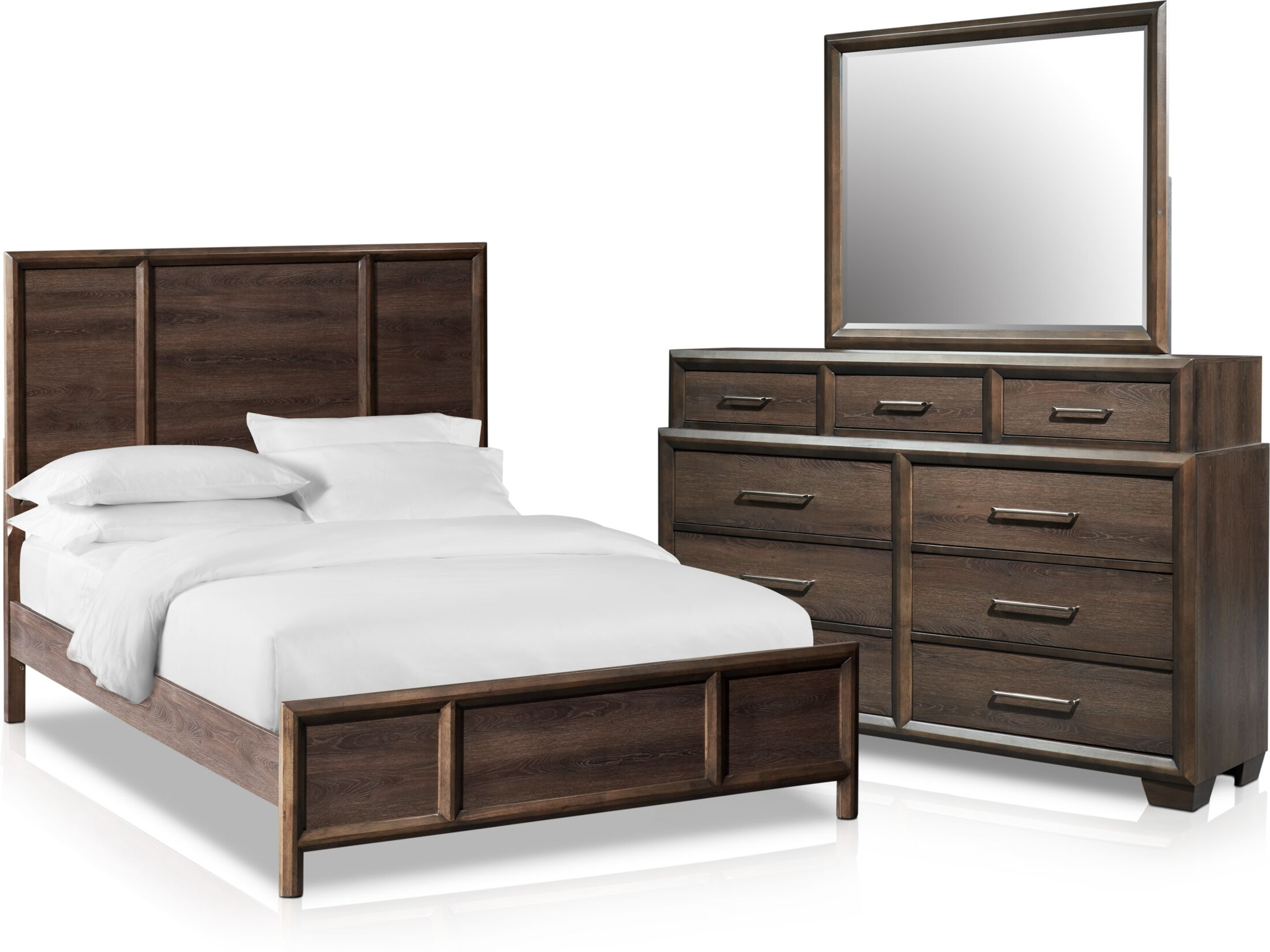 Bedroom Furniture - Dakota 5-Piece Bedroom Set with Dresser and Mirror