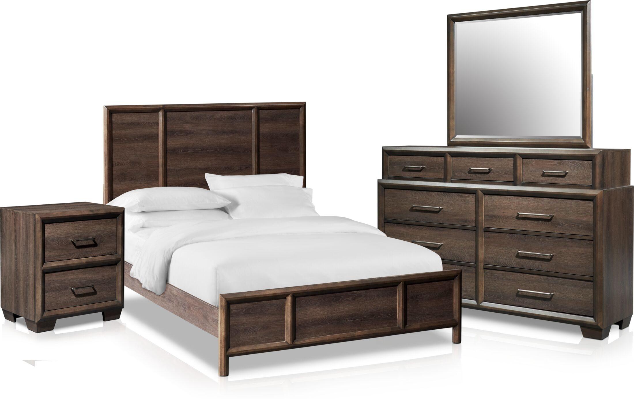 Bedroom Furniture - Dakota 6-Piece Panel Bedroom Set with Nightstand, Dresser and Mirror