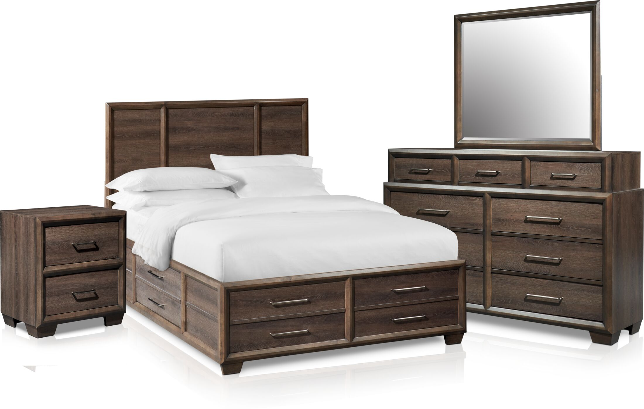 Bedroom Furniture - Dakota 6-Piece Panel Storage Bedroom Set with Nightstand, Dresser and Mirror