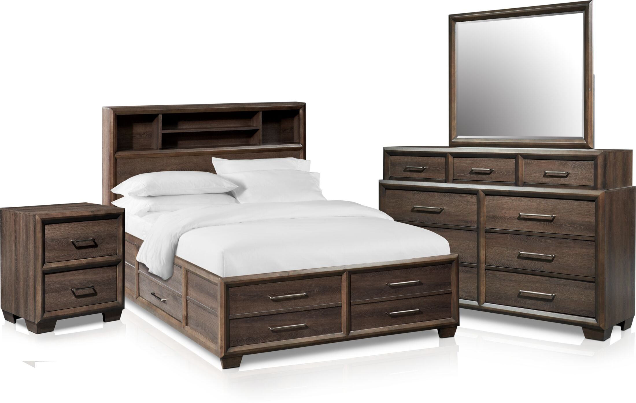Bedroom Furniture - Dakota 6-Piece Bookcase Storage Bedroom Set with Nightstand, Dresser and Mirror