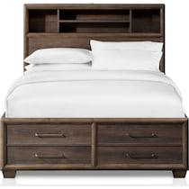 dakota dark brown queen storage bed