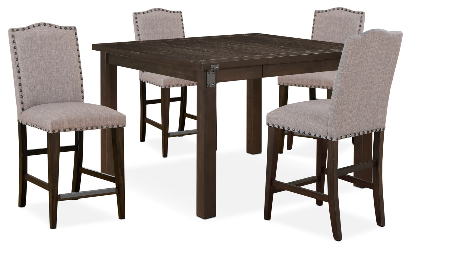 Dining Room Furniture - Hampton Counter-Height Dining Table and 4 Upholstered Stools