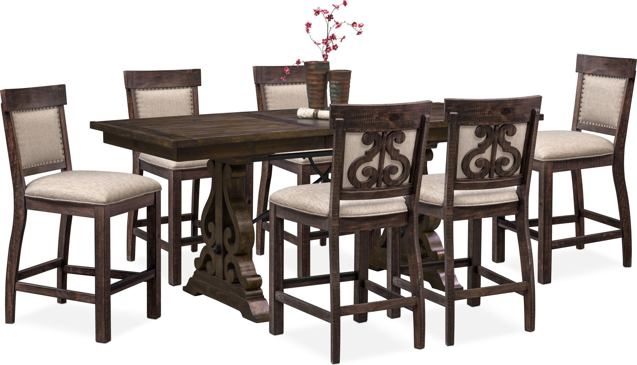 Dining Room Furniture - Charthouse Counter-Height Dining Table and 6 Upholstered Stools