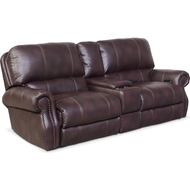 Dartmouth 3-Piece Dual-Power Reclining Sofa with Console - Burgundy