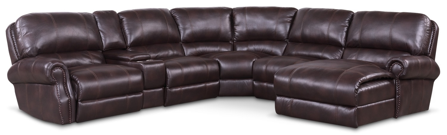 Living Room Furniture - Dartmouth 6-Piece Dual-Power Reclining Sectional with Chaise and 2 Reclining Seats