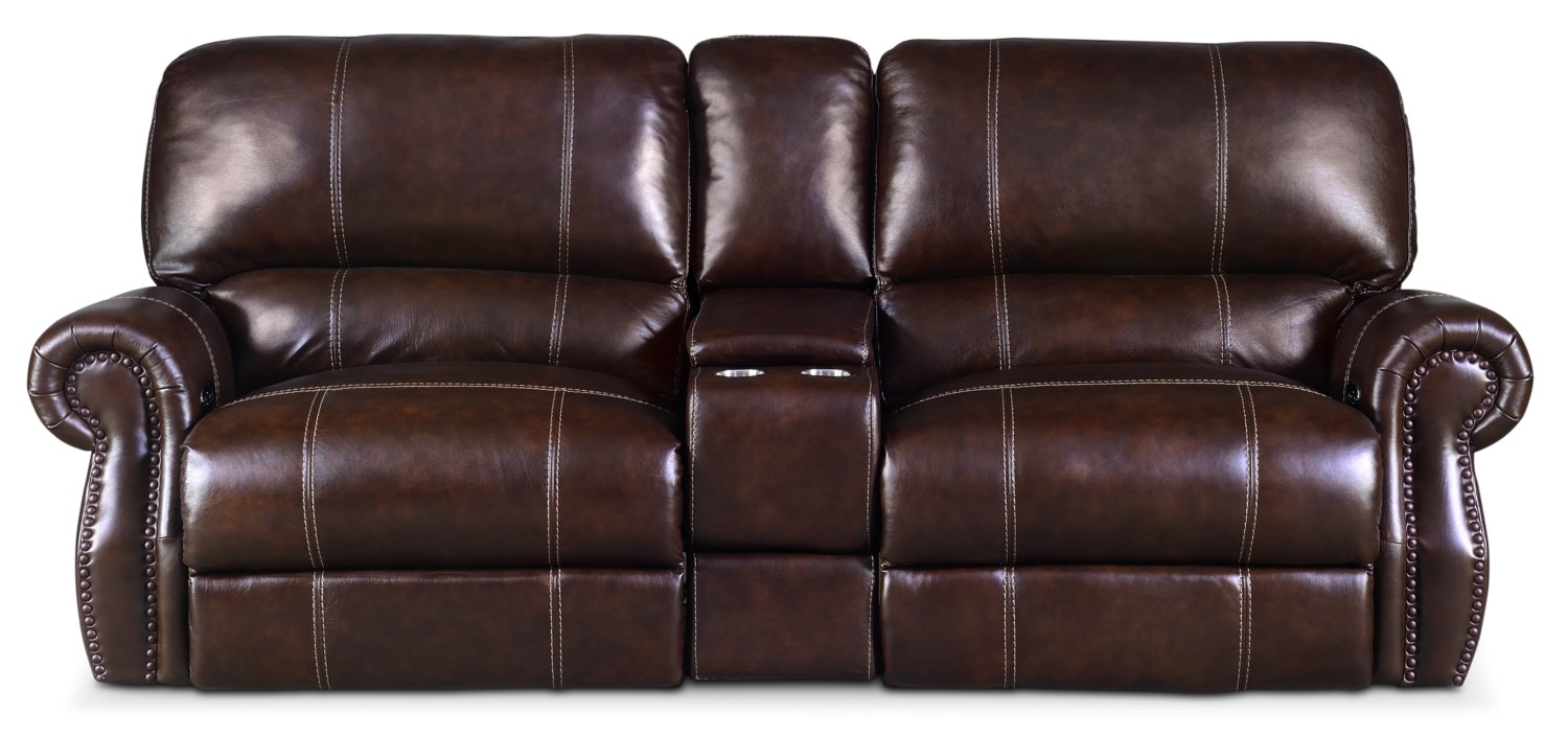 Living Room Furniture - Dartmouth 3-Piece Dual-Power Reclining Sofa with Console