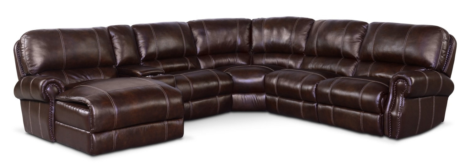 Living Room Furniture - Dartmouth 6-Piece Dual-Power Reclining Sectional with Chaise and 1 Reclining Seat