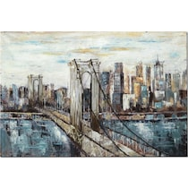 deep blue bridge blue cream brown wall art