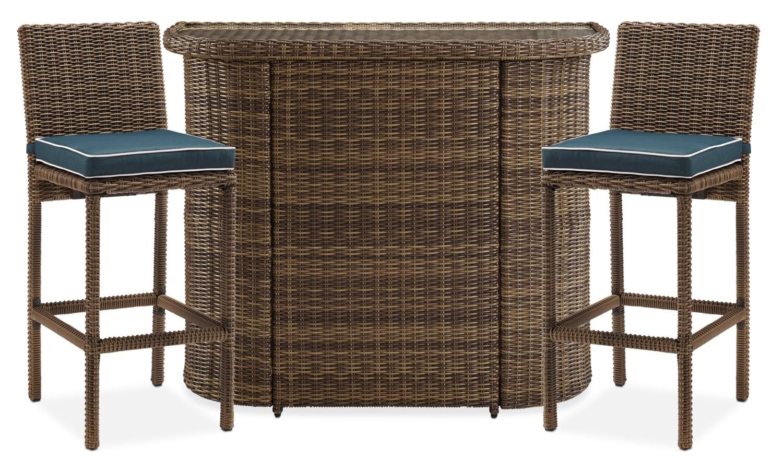 Outdoor Furniture - Destin Outdoor Bar and 2 Bar Stools