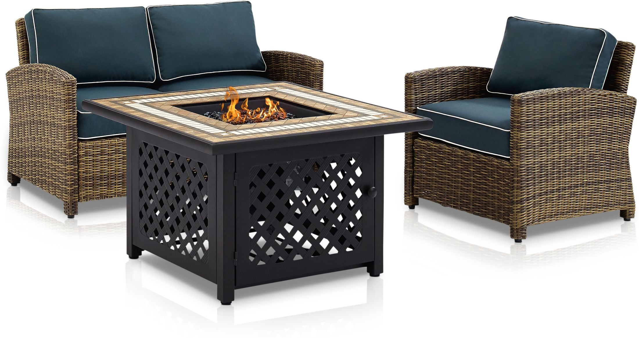 Outdoor Furniture - Destin Outdoor Loveseat, Chair and Fire Table