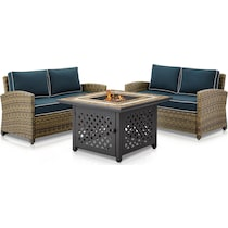 destin blue outdoor loveseat set