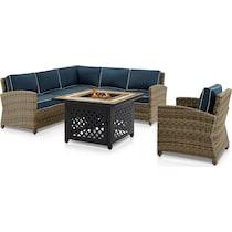 destin blue outdoor sectional set