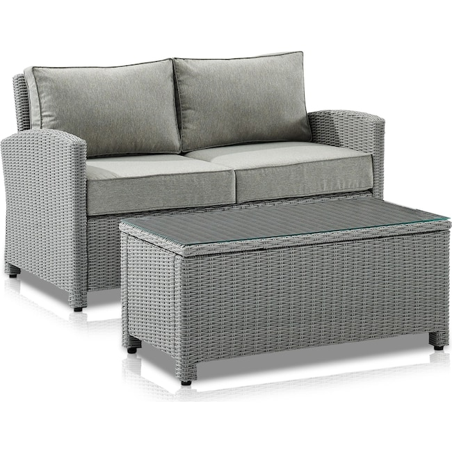 Outdoor Furniture - Destin Outdoor Loveseat and Coffee Table Set
