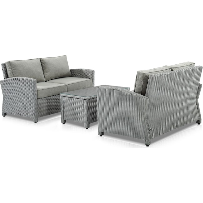 Outdoor Furniture - Destin Set of 2 Outdoor Loveseats and Coffee Table