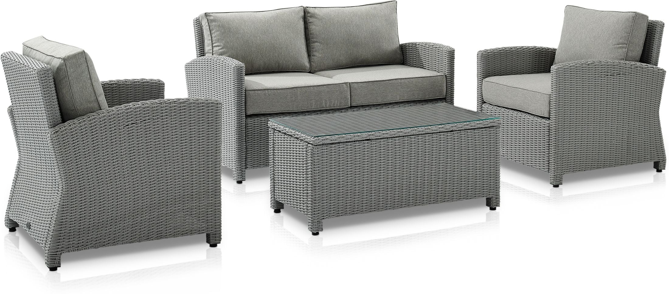 Outdoor Furniture - Destin Outdoor Loveseat, 2 Chairs and Coffee Table Set