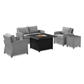 Destin Outdoor Loveseat, 2 Chairs, End Table and Tybee Fire Table Set