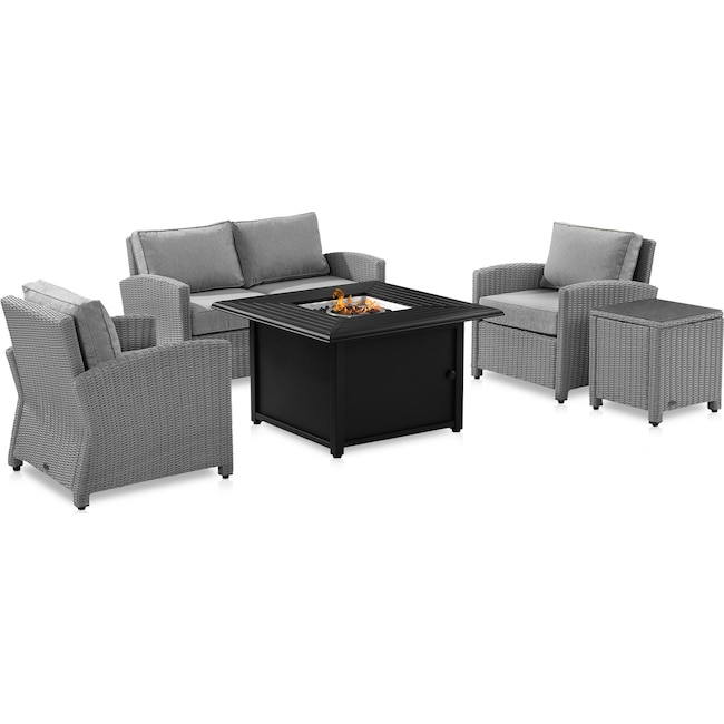 Outdoor Furniture - Destin Outdoor Loveseat, 2 Chairs, End Table and Tybee Fire Table Set