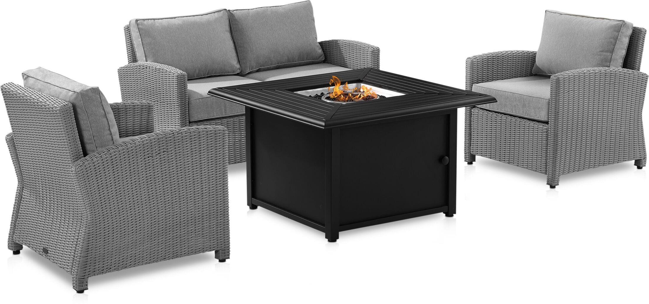 Outdoor Furniture - Destin Outdoor Loveseat, 2 Chairs, and Tybee Fire Table Set