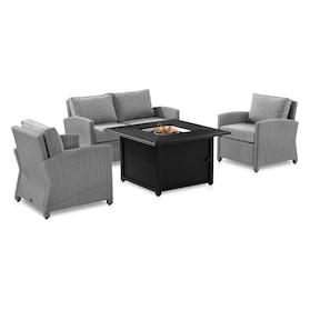 Destin Outdoor Loveseat, 2 Chairs, and Tybee Fire Table Set