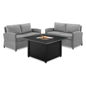 Destin Set of 2 Outdoor Loveseats and Tybee Fire Table