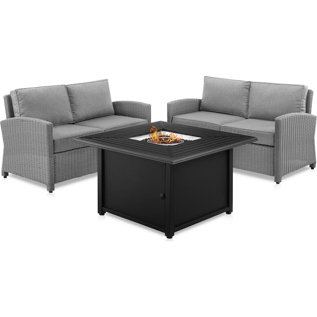 Outdoor Furniture - Destin Set of 2 Outdoor Loveseats and Tybee Fire Table