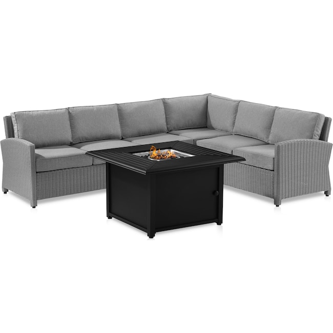 Outdoor Furniture - Destin Outdoor 4-Piece Sectional and Tybee Fire Table Set