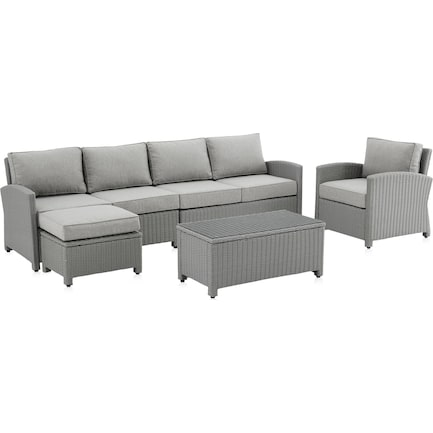 Destin 3-Piece Outdoor Sectional, Chair and Coffee Table Set - Gray