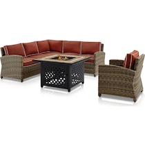 destin red outdoor sectional set