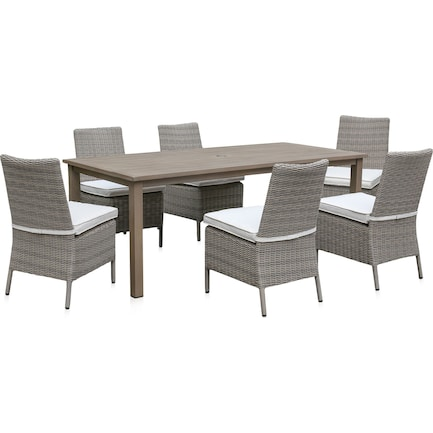 Dover Bay Outdoor Rectangular Dining Table and 6 Side Chairs