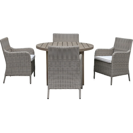 Dover Bay Outdoor Round Dining Table and 4 Arm Chairs