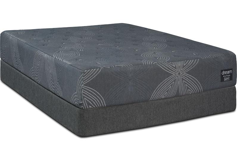 dream ultra gray queen mattress foundation set