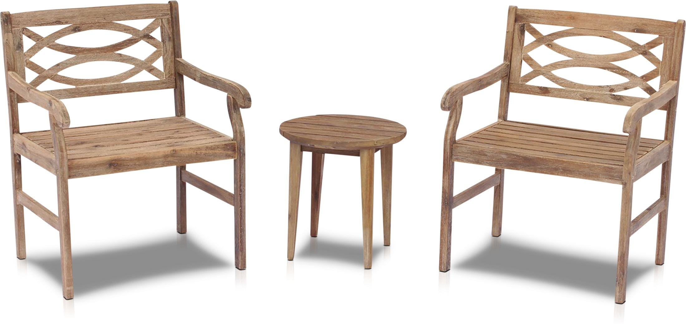 Outdoor Furniture - Dune Set of 2 Outdoor Chairs and End Table