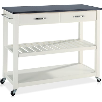 Elias Kitchen Cart  - White/Black Granite Top