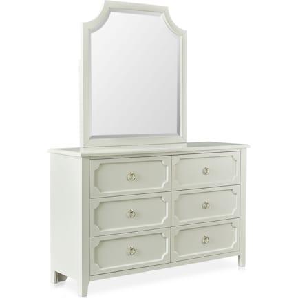 Elle Dresser and Mirror - Gray