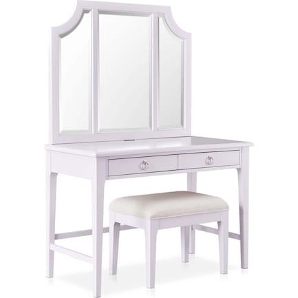 Elle Vanity Desk and Bench - Lavender