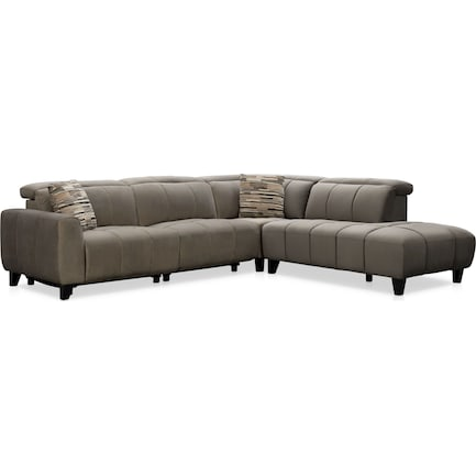 Emmett 4-Piece Dual-Power Reclining Sectional with Right-Facing Chaise - Gray