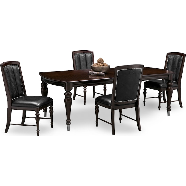 Dining Room Furniture - Esquire Dining Table and 4 Dining Chairs - Cherry