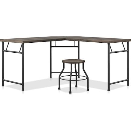 Ezekiel Desk and Stool Set - Dark Oak