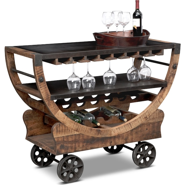 Accent and Occasional Furniture - Farrell Bar Cart - Brown