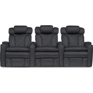 Fiero 3-Piece Dual-Power Reclining Home Theater Sectional - Charcoal