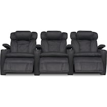 fiero charcoal gray  pc power home theater sectional