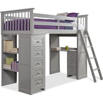 flynn youth gray twin loft bed with desk and chest