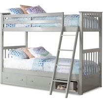 flynn youth gray twin over twin bunk bed with drawer storage