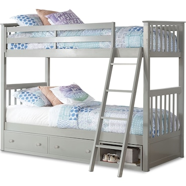Flynn Twin over Twin Storage Bunk Bed - Gray