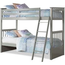 flynn youth gray twin over twin bunk bed