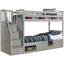 flynn youth gray twin over twin stair bunk bed with storage